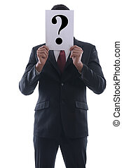 business mean question - Business man holding a piece of...