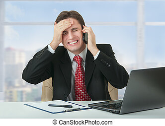 frustrated businessman talking phon - frustrated business...