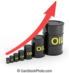 Rising oil barrels graph. Computer generated image.