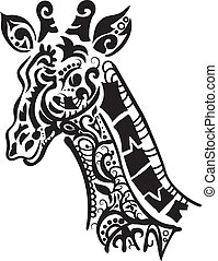 Decorative giraffe silhouette isolate on white background