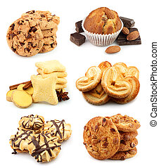 Collection tasty cookies on white
