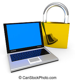 Laptop and padlock. Internet security concept.