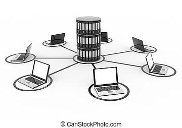 Abstract computer network with laptops and archive or database.