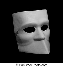 White classic commedia dellarte mask isolated on black...