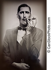 retro portrait of man smoking a pipe - retro portrait of an...