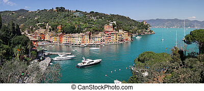 Panorama of Portofino - Aerial panoramic view on Portofino -...