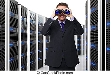 man and datacenter - man with binocular and 3d server...