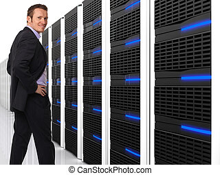 man and server 3d - 3d image of datacentre with lots of...