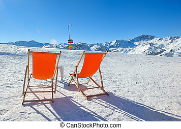 wooden chair on top of mountain - chair on top of mountain...