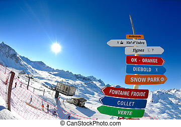 Sign board at High mountains under snow in the winter - sign...
