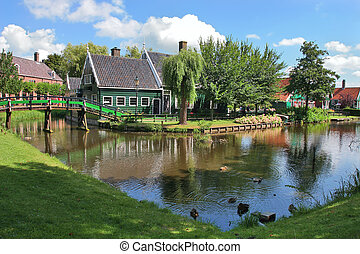 Dutch village Zaanse Schans, Netherlands - Traditional rural...