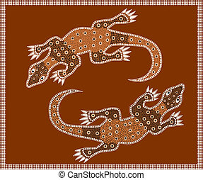 Waran - A illustration based on aboriginal style of dot...