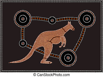 Kangaroo - A vector illustration based on aboriginal style...