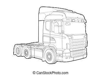 Outline truck - Vector outline truck on white background