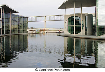 Berlin. New Bundestag buildings and memorial for people who...