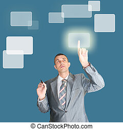 new information technology - successful businessman choose...