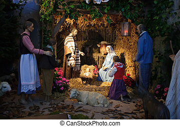 Födelse, förståndig,  &, män, tre, scen, Gåvor,  Joseph,  Jesus, presenterande,  baby,  mary, jul