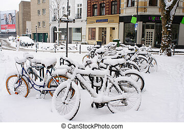 Bikes at snowy winter - Too much snow for the bicycles,...