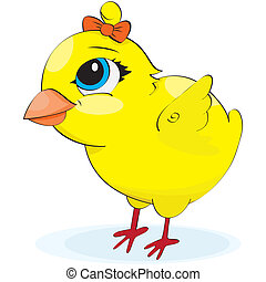 Cartoon chicken illustration on a white background