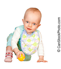 Little baby playing with ball on white background without...