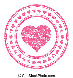 Vector illustrator of a grunge pink rubber stamp with heart...
