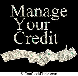 Manage your credit, isolated words with American notes -...