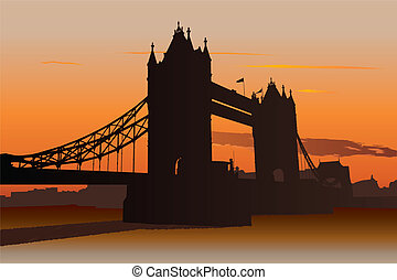 Tower Bridge in London, UK - Illustration of Tower Bridge in...