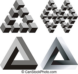 Optical illusions - Paradox triangles and cubes