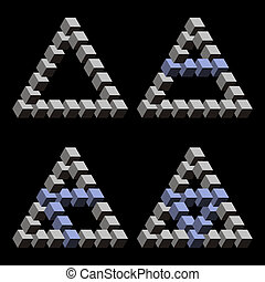 Optical Illusions - Paradox triangles and cubes in black...