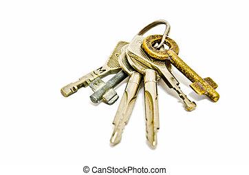 a, tas, clés, isolé