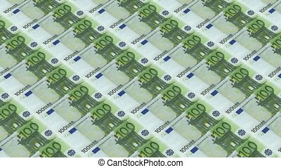 100 euro bills,Printing Money Animation.