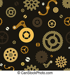 Steampunk seamless mechanical background with gears
