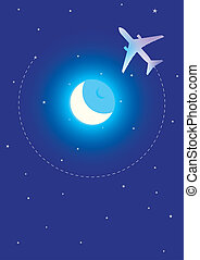 Fly Me To The Moon - Vector Illustration of Airplane on...