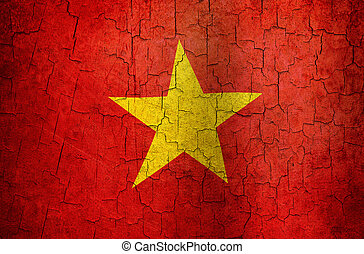 Grunge Vietnam flag - Vietnamese flag on a cracked grunge...