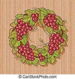 Retro grapes wreath in woodcut style. Vector illustration.