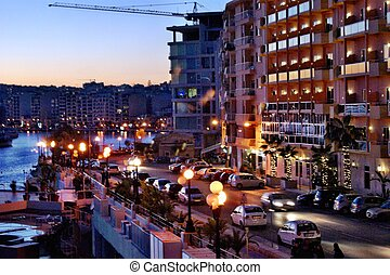 Sliema Esplanade, Malta at dusk - As night falls the...