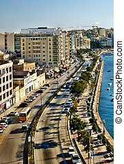 The Esplanade Sliema, Malta - Looking west along the...