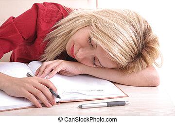 Blonde office girl sleeping