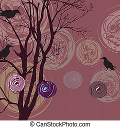 Background with tree, ravens and ab