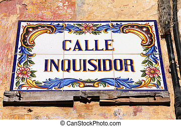 Havana, Cuba - ceramic street sign at Calle Inquisidor