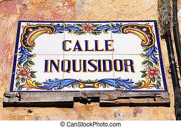 Havana, Cuba - ceramic street sign at Calle Inquisidor