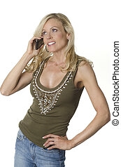 Attractive woman talking on cell ph
