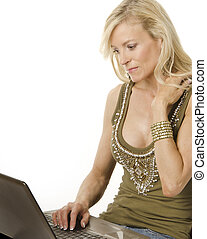 Woman working on computer laptop