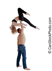 man take girl on hand - acrobatic performance - Couple of...