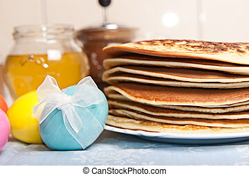Easter eggs and pancakes - Easter eggs and stack of pancakes...