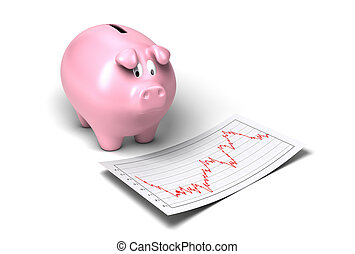 worried piggy bank looking at crash of its shares onto a...