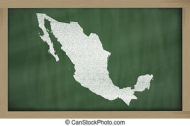 outline map of mexico on blackboard - drawing of mexico on...