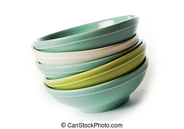 Empty bowls - Empty ceramic bowls on white background