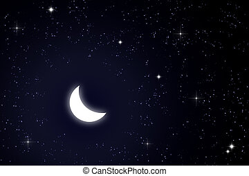 moon and star in sky