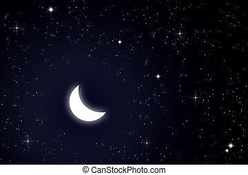 księżyc, Gwiazda, niebo